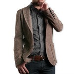 Pierotucci Men's Fitted Suede Beige Leather Blazer AB308-CA/080