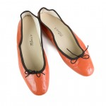 Porselli Ballet Flat - Orange with Dark Brown Trim PO-DS-24-11
