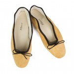 Porselli Ballet Flat - Mustard Suede with Dark Brown Trim PO-DS-C10-11