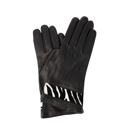 4591c2216 Black Leather Glove with Fur Band & Cashmere Lining Made in Italy