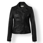 Women's Cropped Italian Leather Jacket AB295-NA nero