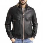 Leather Bomber Jacket with Contrast Color Trim for Men Made in Tuscany AB190-NA