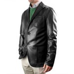 Leather Single Breasted Blazer with Patch Pockets for Men Italian Made AB308-NA nero