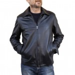 Leather Classic Biker Jacket for Men Made in Florence AB334-NA nero