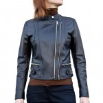 Leather Fitted Biker Moto Jacket for Women Italian Made AB329-NA nero