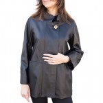 Leather Coat A-line loose fit for Women Made in Italy AB336-NA