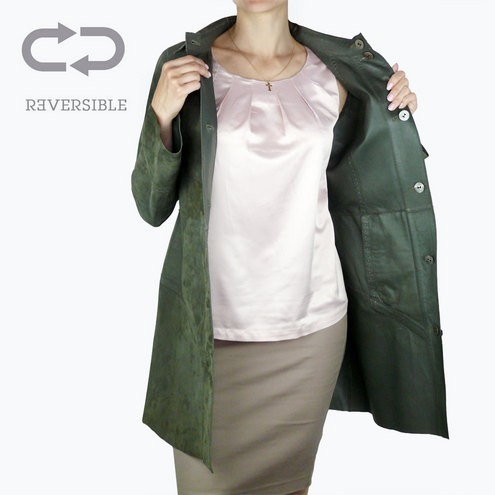 outlet store 1d4df 703a9 Giacca Lunga Reversibile in Pelle Verde