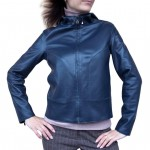 Leather and Denim Reversible Jacket with hood for Women Made in Italy AB348-NA blu/denim