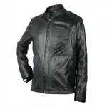 Leather Biker Jacket with Airtex finish for Men Made in Italy AB333-NA