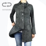 Leather and Suede 3/4 length Coat for Women Made in Italy AB340-NA/024