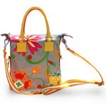 Mini Canvas and Leather Tote Bag, Floreal theme 4851-TE