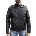 Leather Racer Jacket vintage effect, Made in Italy AB318-NA