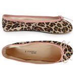 Porselli Total Flat Ballerina - Leopard Suede with Pink Trim PO-SL-C18-12