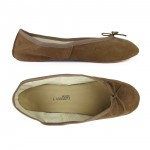 Porselli Total Flat Ballerina - Light Brown Suede PO-SL-C15