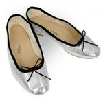 Porselli Ballet Flat - Metallic Silver with Black Trim PO-DS-16-02