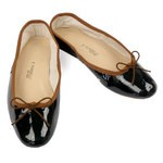 Porselli Ballet Flat - Black Patent with Tobacco Trim PO-DS-29-43