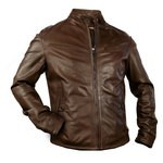 Leather Biker Jacket with Snap Collar for Men Made in Tuscany AB352-NA