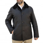 Shearling Car Coat Single Breasted Button Down for Men Made in Italy AB362-SH