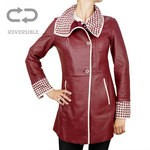 Leather & Suede Reversible Coat Woven Details for Women Italy Made AB375-NA
