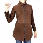 Leather Reversible Coat Laser Cut Details for Women Made in Tuscany AB374-NA