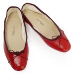Porselli Ballet Flat - Red with Bordeaux Trim PO-DS-45-08