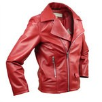 Leather Moto Jacket with Asymmetric Zip for Kids Made in Italy AB361-NA/004