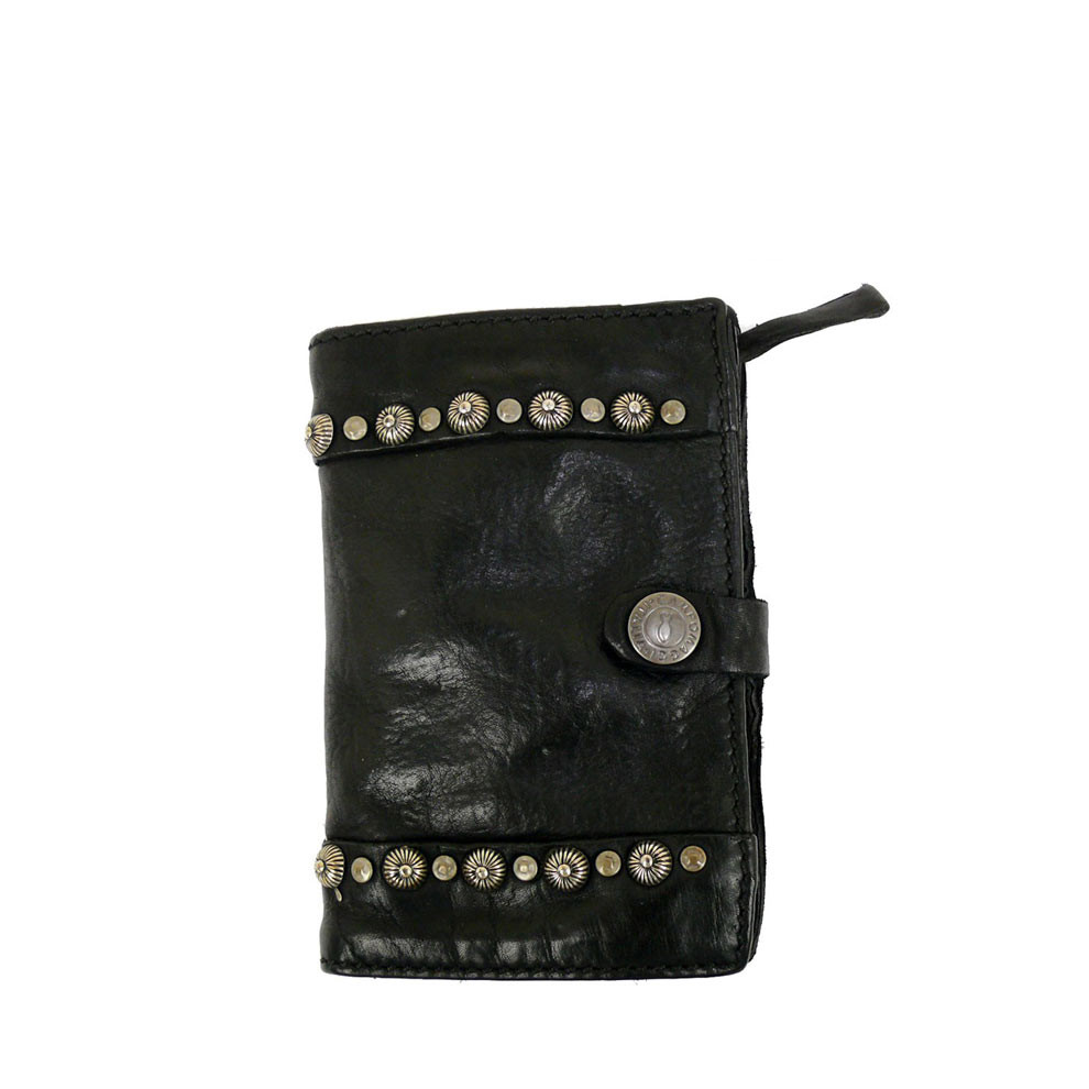 Washed Leather Wallet With Stud Detail Damiana By Campomaggi