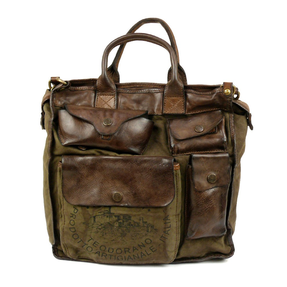 Washed Leather & Canvas Professional Work Bag by ...