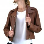 Leather Biker Jacket with Airtex finish for Women Italian Made AB388-NA