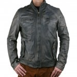Leather Biker Jacket, aged look, for Men Made in Tuscany AB391-NA