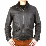 Distressed Leather Bomber with Knitted Collar AB392-NA