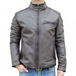 Men's Leather Moto Biker Jacket with band collar AB394-NA