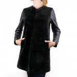 Leather and Shearling Collarless Coat for Women Made in Tuscany AB381-NA