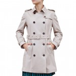 Leather Double Breasted Trench Coat for Women, Made in Italy AB382-NA