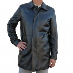 Leather Car Coat Single Breasted 3/4 Length for Men Made in Italy AB384-NA