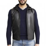 Mens Reversible Italian Leather Gilet with Hood AB385-NA
