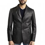 Leather Single Breasted Blazer for Men Made in Tuscany AB387-NA