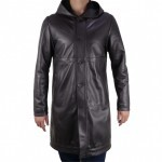 Mens Long Length Leather Coat with Hood AB386-NA